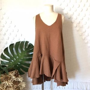 FREE PEOPLE BROWN WOOL LAYERED RUFFLE TUNIC DRESS